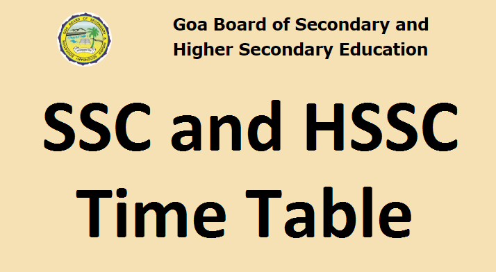 Goa Board New time table